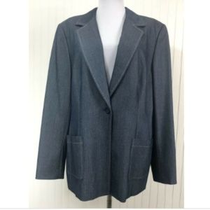 Style & Co. Blue Chambray Blazer Jacket 16 XL L/S